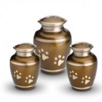 Metalen urne bruine pootjes Pet Funeral Center Kortrijk